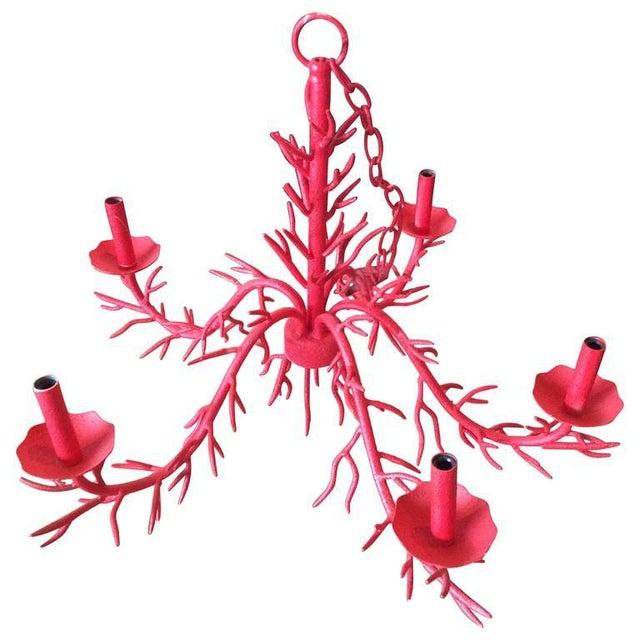 Vintage 5-Light Hollywood Regency Coral Metal Chandelier For Sale - Image 11 of 11