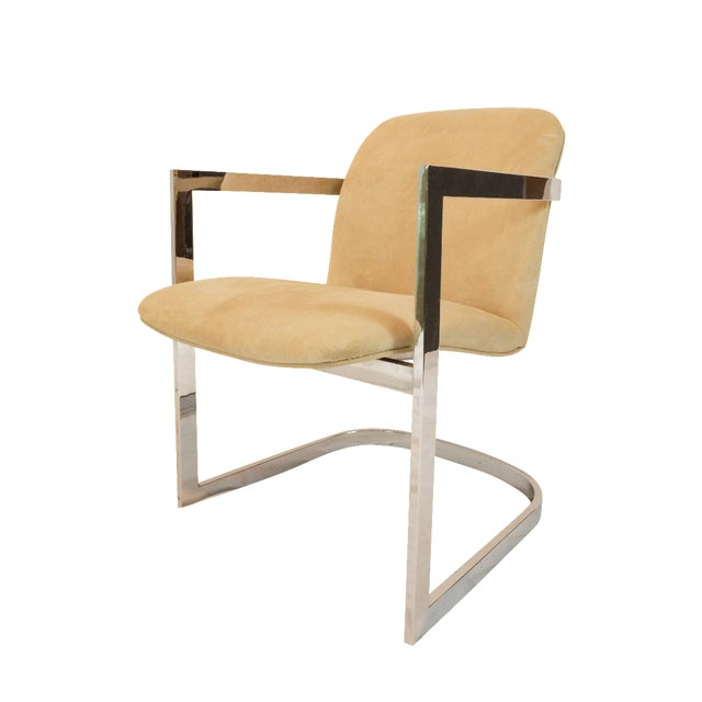 Vintage Chrome Armchair With Suede Upholstery - Image 1 of 5