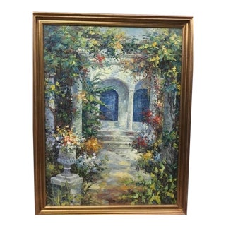 Courtyard Gardens Renaissance Architecture Original Oil Painting in Wood Frame For Sale