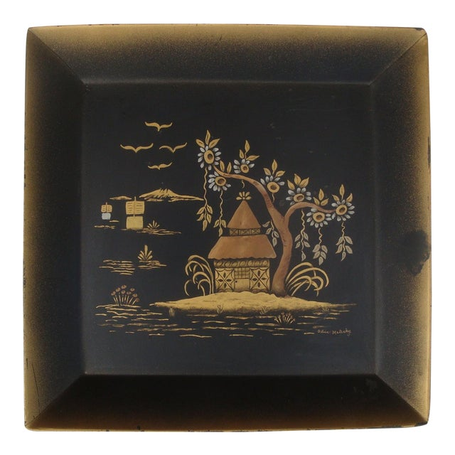 Chinoiserie Black & Gold Asian Tole Tray For Sale