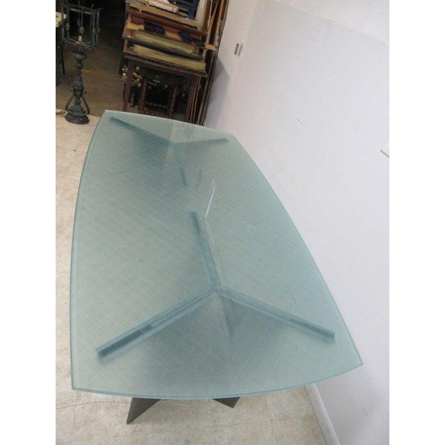 Vintage Industrial Steel Pedestal Conference Table For Sale - Image 4 of 10