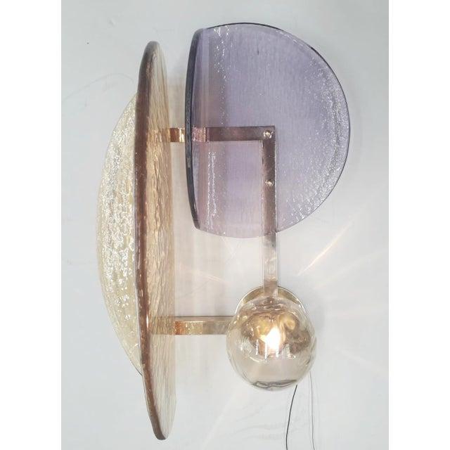 Fabio Ltd Pair of Murano Glass Geometric Sconces by Fabio Ltd For Sale - Image 4 of 13