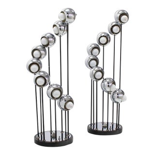 Mid-Century Modern Chrome Globe Table Lamps - A Pair For Sale