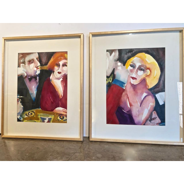 Red Cabaret Scene Framed Watercolor Paintings by Sandra Jones Campbell - Set of 2 For Sale - Image 8 of 8