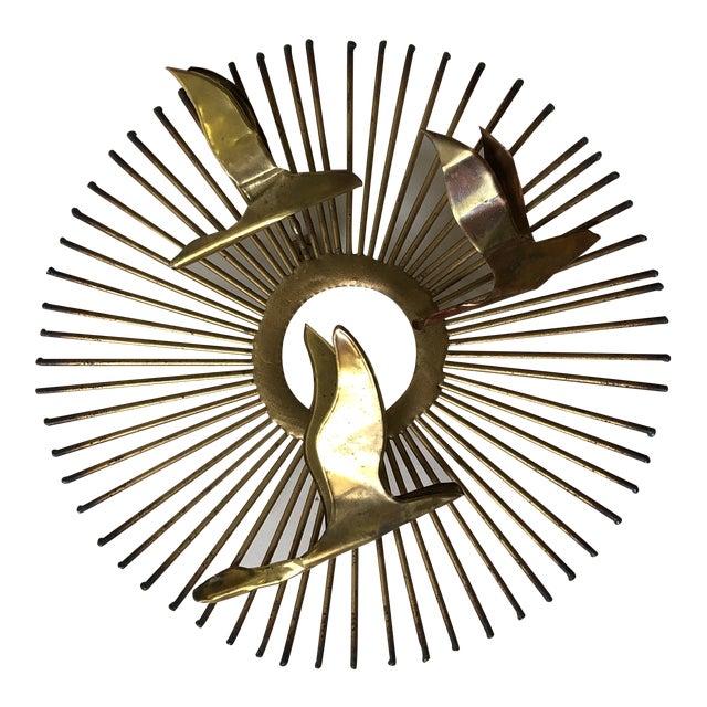 Mid Century Brass Sunburst Jere Style Sculpture For Sale
