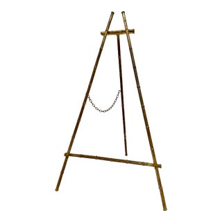 Vintage Gilt Gold Faux Bamboo Metal Easel For Sale