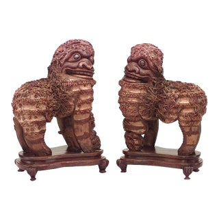 Pair of Asian Chinese Style Carved Wood Foo Dog Figures