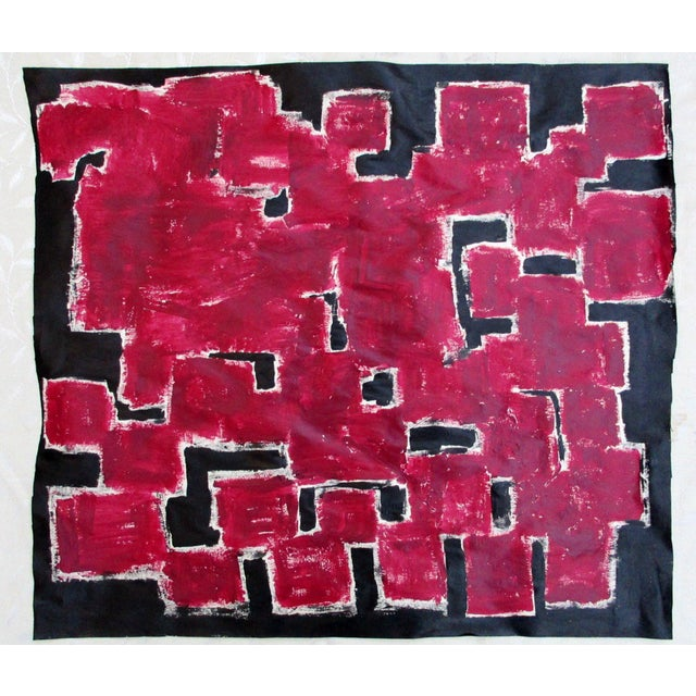 Alaina Bold Abstract Red Black Painting - Image 2 of 11