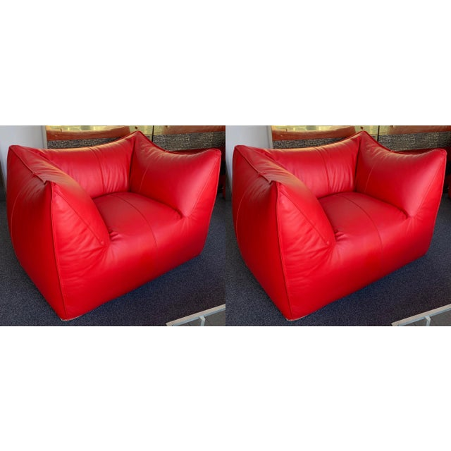 1970s Le Bambole Armchairs Red Leather by Mario Bellini for B&b Italia For Sale - Image 13 of 13