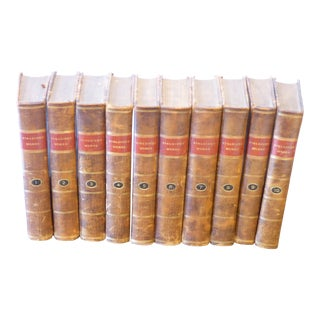 18th Century Collection of English Brown Leather Volumes of Henry Fielding's Works -Set of 10 For Sale