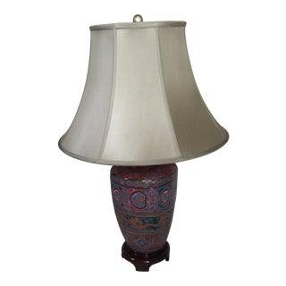 Vintage Glazed Ceramic Asian Motif Table Lamp For Sale
