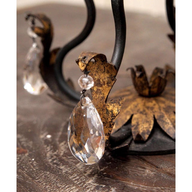 Pair of Gilt Iron and Crystal Girandoles For Sale In New Orleans - Image 6 of 8