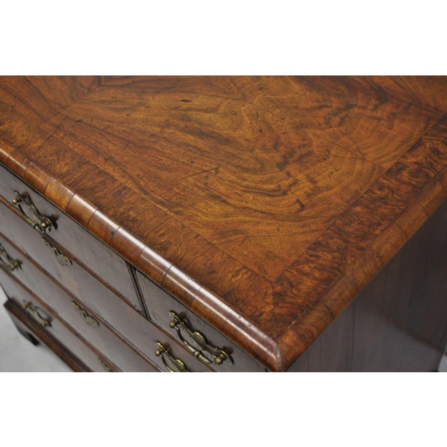 Brass 19th Century Queen Anne Burr Walnut Inlaid Chest of Drawers For Sale - Image 7 of 13