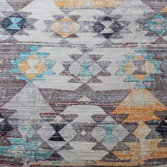 Faded Southwestern Kilim Patterned Tribal Cotton Rug - 4'x6' For Sale - Image 4 of 10