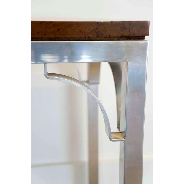 Tomlinson Burled Walnut & Aluminum Console For Sale - Image 4 of 8