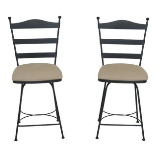 1990s Vintage Charleston Forge Iron Swivel Seat Bar High Chairs- A Pair For Sale