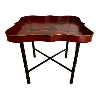 20th Century Italian Chinoiserie Style Tole Tray Table For Sale