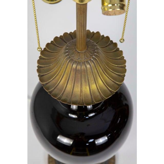 1950s Marbro Black Porcelain & Brass Amphora Jar Lamp For Sale - Image 5 of 9