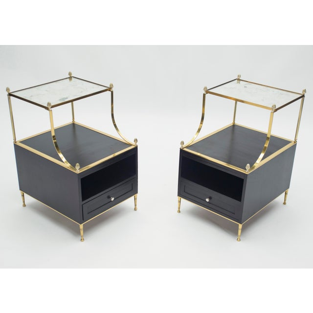 Mid-Century Modern Rare Pair of French Maison Charles Brass Mirrored End Tables 1950s For Sale - Image 3 of 13