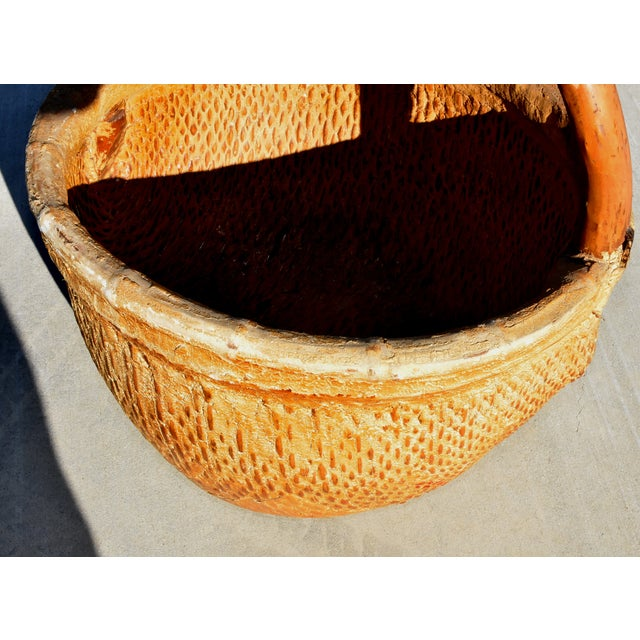 Chinese Country Willow Basket With Tree Branch Handle For Sale - Image 12 of 13