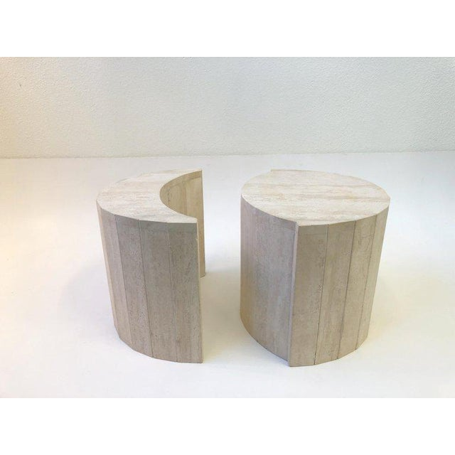 Italian Oval Italian Travertine Cocktail Table by Willy Rizzo For Sale - Image 3 of 11