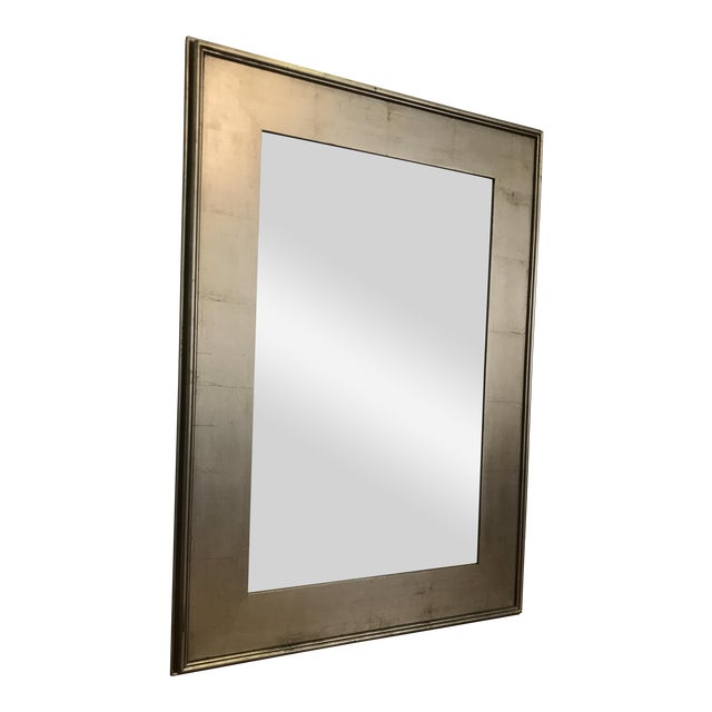 Pottery Barn Metallic Finish Wood Frame Mirror For Sale