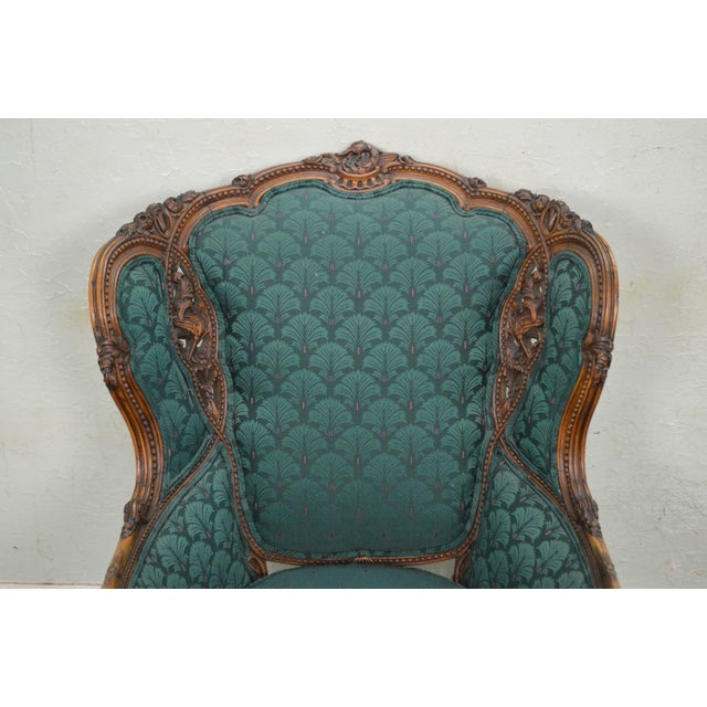 Antique Carved Rococo Style Wing Chair - Image 10 of 10