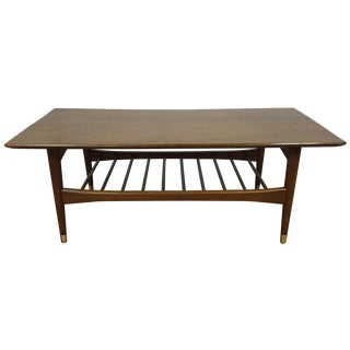 Mid-Century Brass-Capped Leg Coffee Table For Sale