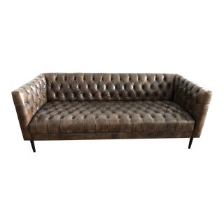 Mid-Century Modern Brown Leather Tufted Sofa For Sale