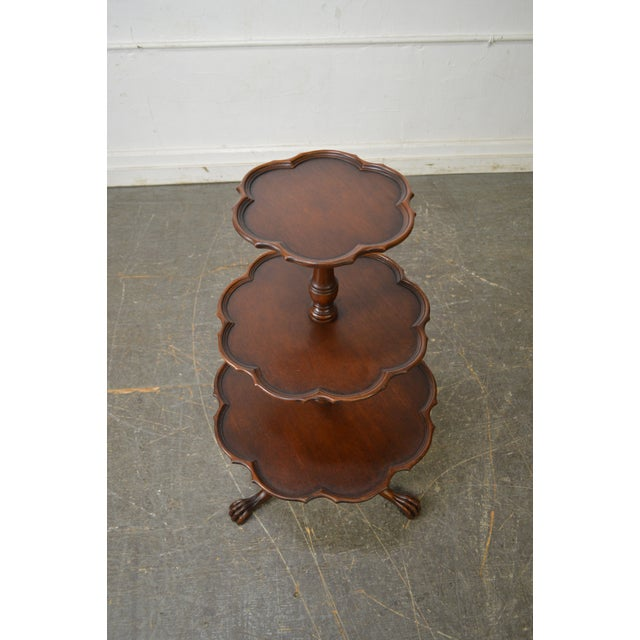 Vintage Mahogany Chippendale Style Claw Foot 3 Tier Dumbwaiter Table - Image 3 of 11