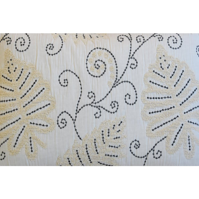 """English Scalamandre Embroidered Fern Wood Feather/Down Pillow 22"""" X 16"""" For Sale - Image 3 of 8"""