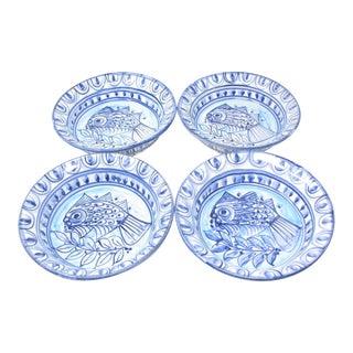 Vintage Porches Algarve Portugal Pottery Earthenware Bowls With Fish Design - Set of 4 For Sale
