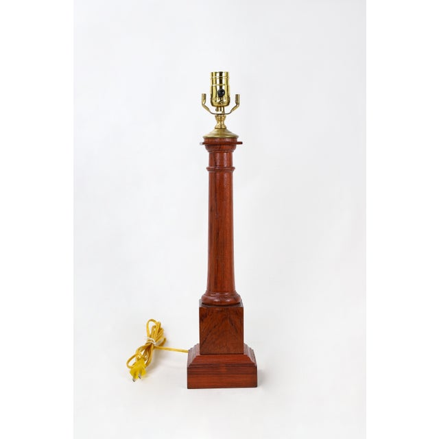 Wooden Column Lamp With a Cherry Stain For Sale - Image 10 of 10