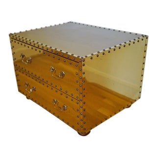 1970s Regency Brass Studded Two Drawer Chest For Sale