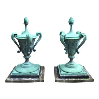 Rare Copper Finials, 1920s - a Pair
