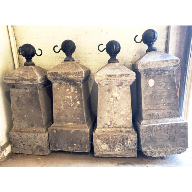 Fabulous Antique French Chateau Garden Iron and Concrete Bollard Posts (without chain). The post-top is a distinctive...