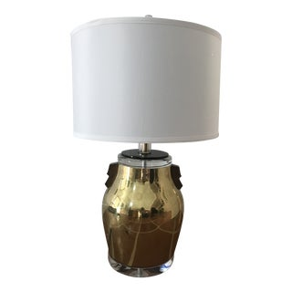 1980s Bauer Brass and Lucite Lamp For Sale