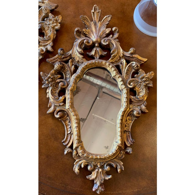 Gold 20th Century Italian Rococo Accent Mirrors - a Pair For Sale - Image 8 of 13