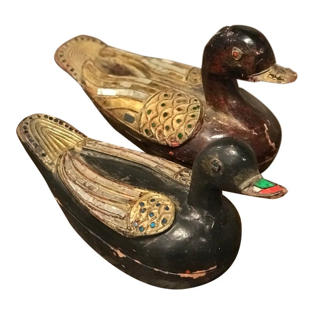 Asian Antique Wooden Duck Boxes - a Pair For Sale
