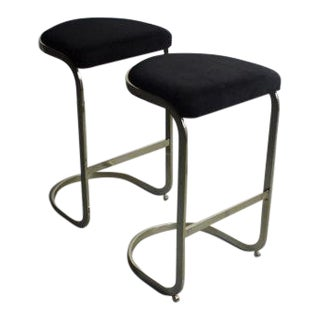 Mid-Century Brass Cantilever Bar Stools - A Pair For Sale