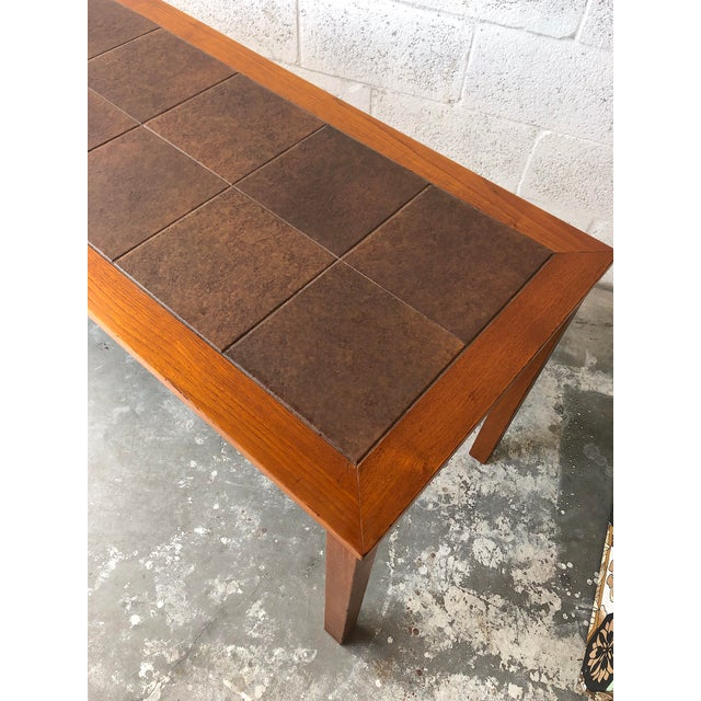 Vintage Mid Century Danish Modern Tile Top Console/ Entry Table For Sale In Miami - Image 6 of 13
