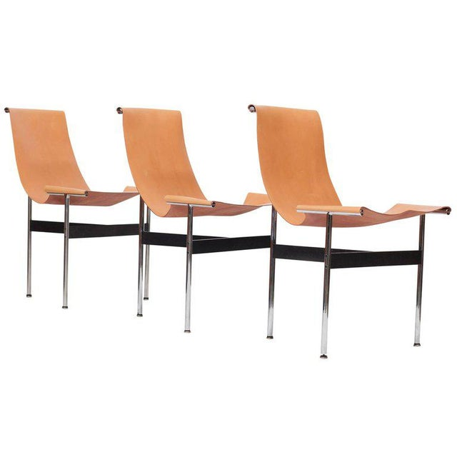 Laverne International T Chairs in Natural Cognac Leather For Sale - Image 11 of 11