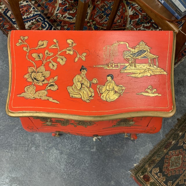 20th Century Asian Red Hand Painted Accent Table For Sale - Image 4 of 8