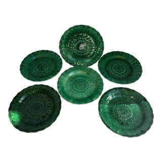 Antique English Green Wedgwood Majolica Sunflower Plates, C.1870-1890, Set of 6, For Sale