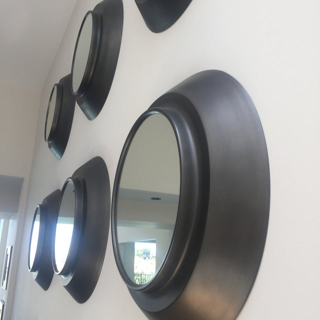 Industrial Circular Metal Wall Mirrors- Set of 9 - Image 3 of 6