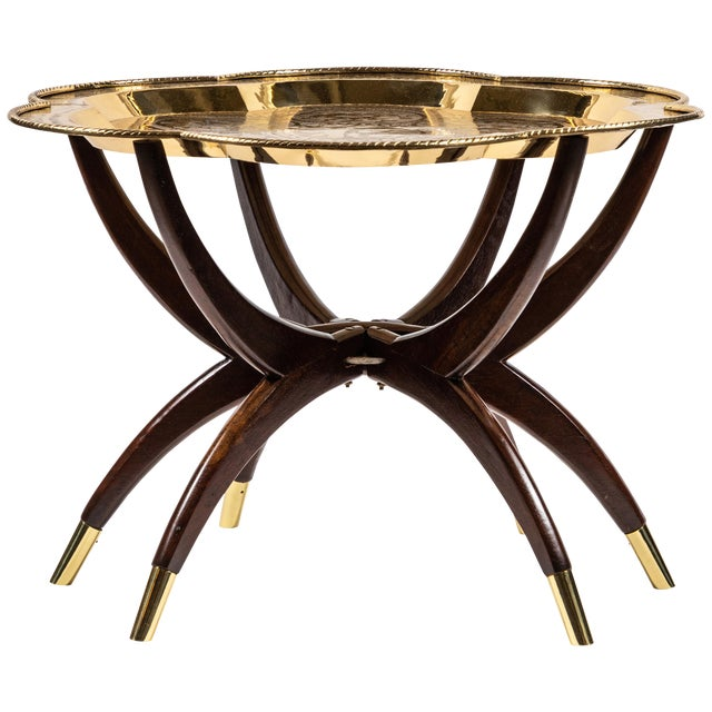Sensational Midcentury Spider Leg Folding Tray Table With Brass Tray Caraccident5 Cool Chair Designs And Ideas Caraccident5Info