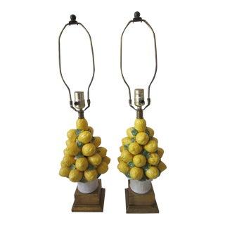 Vintage Italian Ceramic Majolica Table Lamps - A Pair