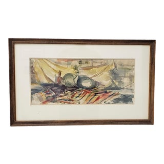 Victor Ing Mid Century Modern Abstract Still Life Watercolor C.1954 For Sale