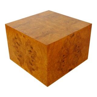 Mid-Century Modern Milo Baughman Thayer Coggin Burl Wood Cube Coffee Table 1970s For Sale