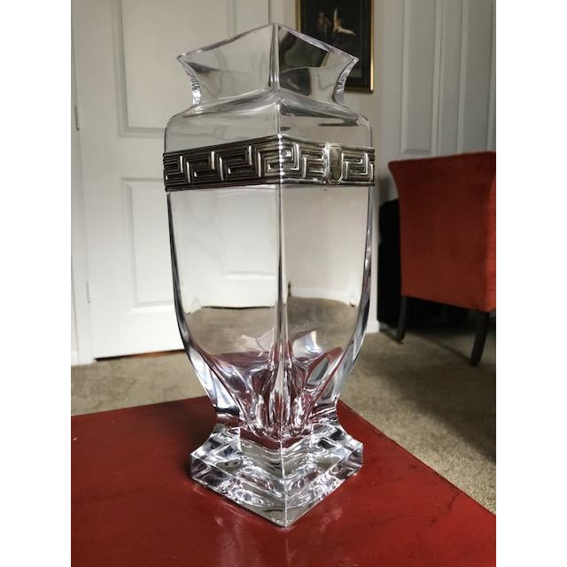 Israeli Crystal Vase With Sterling Silver Band For Sale - Image 10 of 10